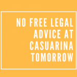 Casuarina advice session cancelled